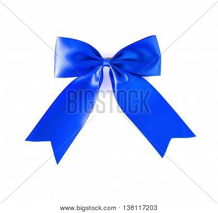 Hair bow blue on a white background.