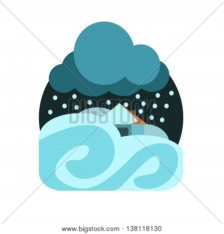 Heavy Snowstorm Natural Force Flat Vector Simplified Style Graphic Design Icon Isolated On White Background
