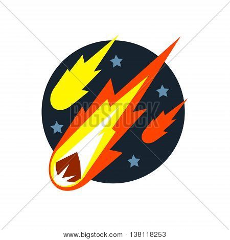 Falling Asteroids Natural Force Flat Vector Simplified Style Graphic Design Icon Isolated On White Background