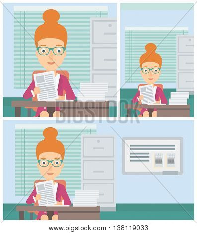 Female human resources manager reading application portfolios in the office. Concept of recruitment of staff, job interview. Vector flat design illustration. Square, horizontal, vertical layouts.