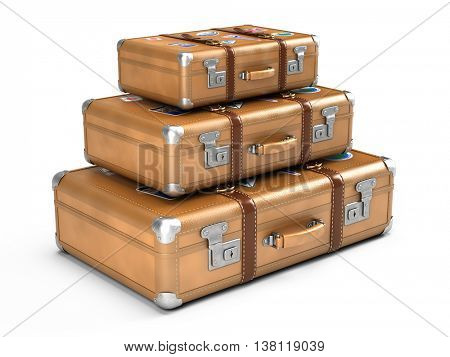 Travel concept: Vintage suitcases isolated on white. 3d illustration