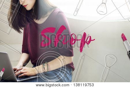 Shopping Shopaholics Makeup Sales Online Concept