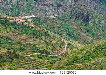 Secluded Masca valley view from Mirador de La Cruz de Hilda Tenerife Canary islands Spain