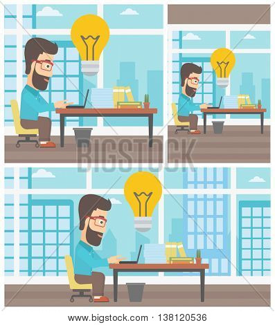 Hipster businessman with the beard working on laptop in office and idea bulb above the table. Successful business idea concept. Vector flat design illustration. Square, horizontal, vertical layouts.