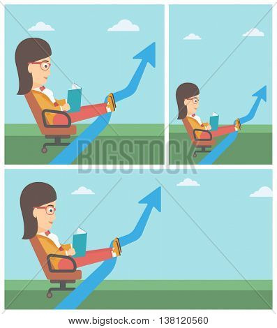 A business woman sitting in a chair and reading a book while her legs lay on an uprising arrow. Business study concept. Business Vector flat design illustration. Square, horizontal, vertical layouts.