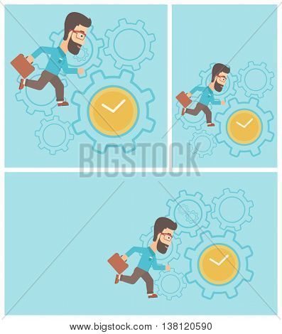Young hipster businessman with briefcase running on a blue background with clock and cogwheels. Vector flat design illustration. Square, horizontal, vertical layouts.