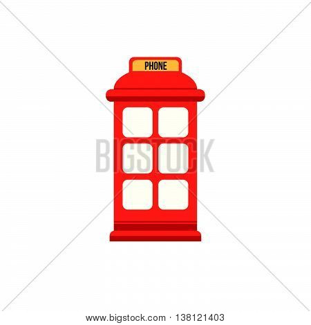 English red phone booth. Flat style vector icon
