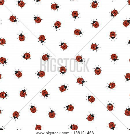 Ladybug seamless pattern. Hand-drawn ladybug. Isolated on white background. Flying insect. Wildlife. Red background black dot. Vector illustration.