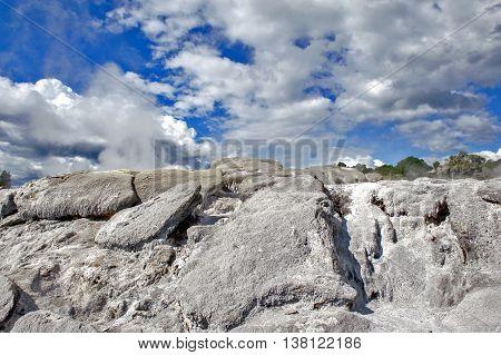 Sulfur From Whakarewarewa Geyser At Te Puia Thermal Park In Geothermal Valley Of Rotorua, New Zealan