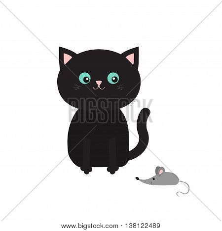 Cute black cartoon sitting cat looking at mouse. Mustache whisker. Funny character. Flat design. White background. Isolated. Vector illustration