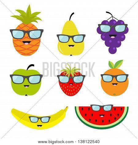 Fruit and berry set eyeglasses sunglasses. Cartoon character face. Banana strawberry orange pineapple grape mellon watermellon pear apple slice Isolated Flat design Vector