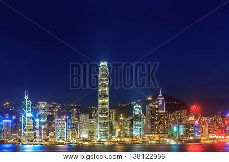 Hong Kong skyline at night, landscape background