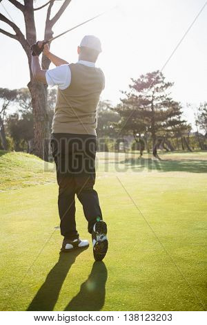 Rear view of sportsman playing golf on a field