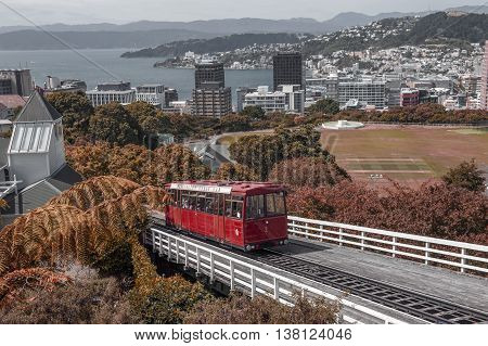 Wellington New Zealand - March 2 2016: The Wellington Cable Car a funicular railway in Wellington New Zealand retouched as old postcard style