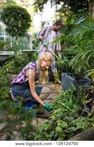 Happy female gardener planting in community garden