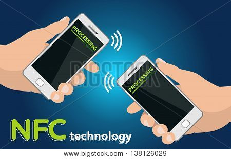 Mobile payment processing concept. Two Hands holding modern phones. Near field communication technology. Money transfer. Two mobile phones with NFC payment technology. Near field commun