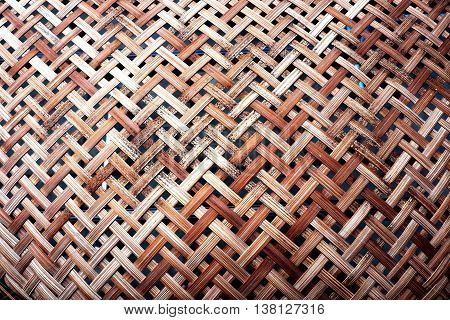 Wooden weave, basketwork twill weave, texture of bamboo wall background.