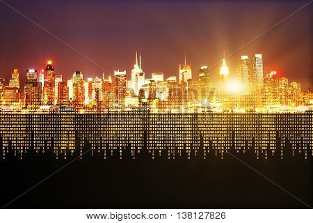 abstract city background with binary code. Technology concept