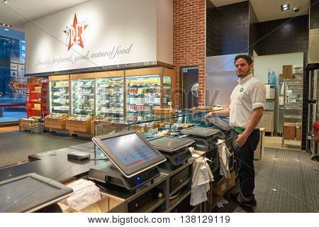 CHICAGO, IL - CIRCA MARCH, 2016: inside of Pret a Manger. Pret a Manger is a sandwich shop chain based in the United Kingdom