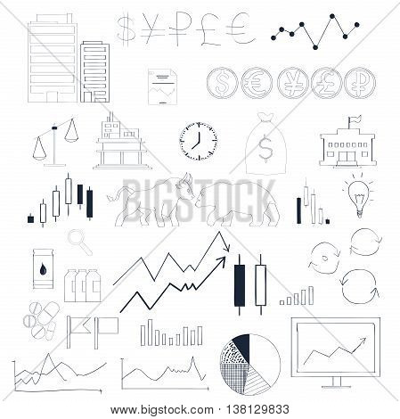 Collection hand drawn elements infographics for stock market.