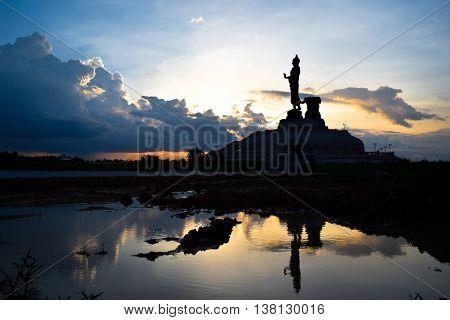 Silhouette Buddha statues at a Buddha monthon isan Khon Kaen, Thailand