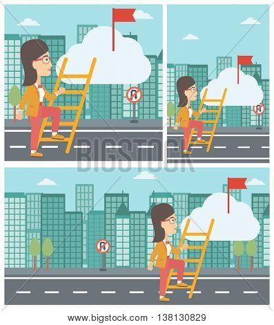 Young business woman climbing up the ladder to get the red flag on the top of the cloud. Vector flat design illustration. Square, horizontal, vertical layouts.