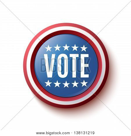 Vote button badge or banner. United States Election. Vector illustration.