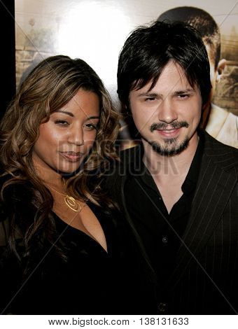 Freddy Rodriguez and wife Elsie at the Los Angeles premiere of 'Harsh Times' held at the Crest Theater in Westwood, USA on November 5, 2006.