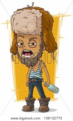 A vector illustration of cartoon drunk man in earflaps with bottle