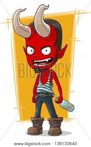 A vector illustration of cartoon red devil in sailor frock