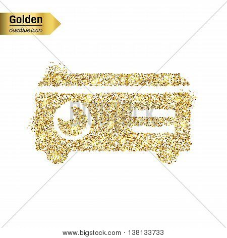 Gold glitter vector icon of projector isolated on background. Art creative concept illustration for web, glow light confetti, bright sequins, sparkle tinsel, abstract bling, shimmer dust, foil.