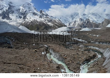 A view of the Baltoro Glacier, the worlds largest resource of freshwater outside the Polar regions, in Pakistan's Gilgit-Baltistan province.