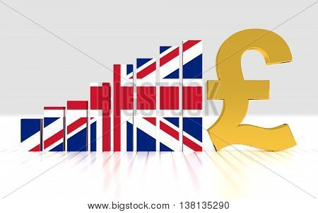 Growth bar graph of british pound. 3D rendering.