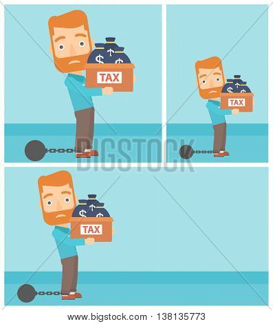 Chained to a large ball hipster businessman with the beard carrying heavy box with bags full of taxes. Vector flat design illustration. Square, horizontal, vertical layouts.