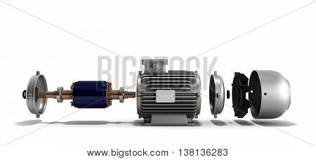 Electric Motor In Disassembled State 3D Render On A White Background