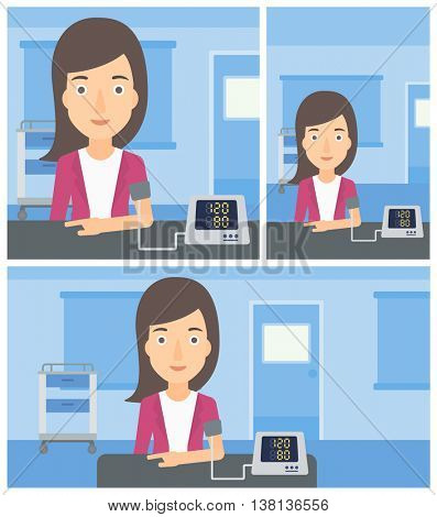 Young woman taking care of her health and checking her blood pressure with digital meter. Vector flat design Illustration. Square, horizontal, vertical layouts.