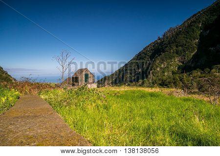 Cute, Little Building In Chao Da Ribeira, Madeira
