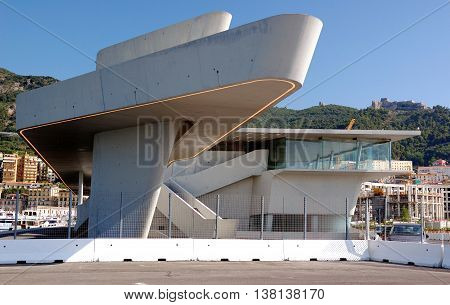 SALERNO, Italy June 2016 The new Maritime Station of Salerno designed from the architect Zaha Hadid - On the background on the hills the Ancient Castle of Arechi