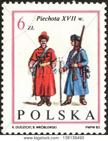 MOSCOW RUSSIA - DECEMBER 2015: a post stamp printed in POLAND shows foot soldiers the series