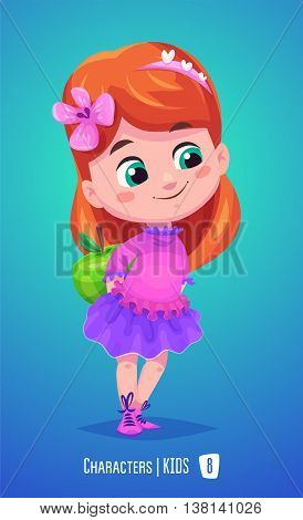 Cute School Girl. Back to School isolated cartoon character with apple on blue background. Great illustration for a school books and more. VECTOR stock illustration.