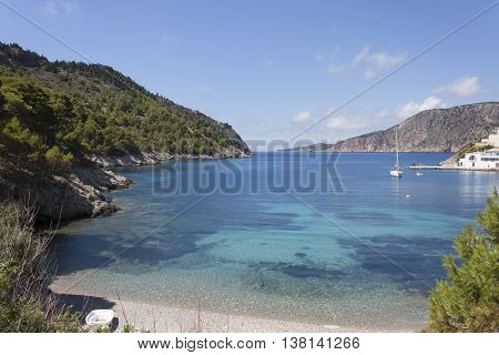 the picturesque bay of assos and turquoise-blue sea