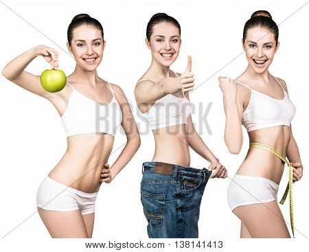 Set of young woman in oversize jeans holds green apple and measuring tape.