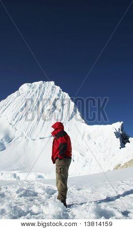 Mountaineer looking on Alpamayo peak
