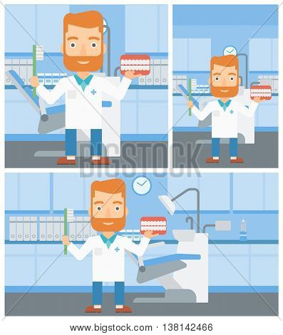 A hipster dentist with the beard holding dental jaw model and a toothbrush in doctor office. Vector flat design Illustration. Square, horizontal, vertical layouts.