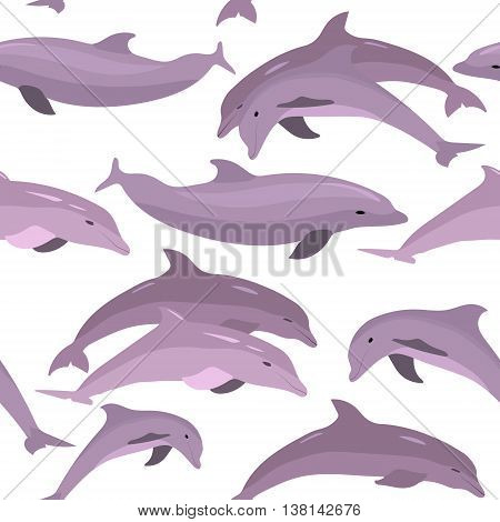Vector seamless pattern with dolphins. Jumping dolphins contour seamless pattern. Textile pattern. Wrapping paper. Repeating image.