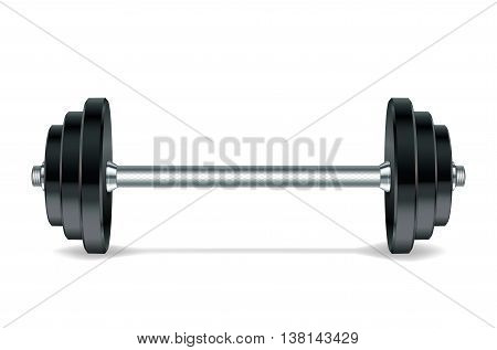 Metal realistic barbell isolated on white background. Vector illustration.