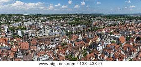 Bird's eye view over Ulm shot from the tower of the minster on daytime