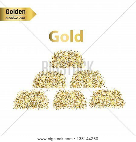 Gold glitter vector icon of gold bullions isolated on background. Art creative concept illustration for web, glow light confetti, bright sequins, sparkle tinsel, abstract bling, shimmer dust, foil.