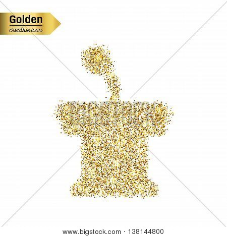 Gold glitter vector icon of orator stands isolated on background. Art creative concept illustration for web, glow light confetti, bright sequins, sparkle tinsel, abstract bling, shimmer dust, foil.
