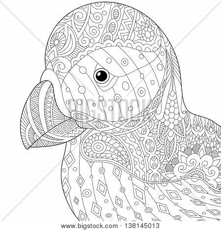 Stylized puffin (atlantic sea bird) isolated on white background. Freehand sketch for adult anti stress coloring book page with doodle and zentangle elements.
